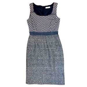 Calvin Klein Fitted Tweed & Chambray Tank Dress